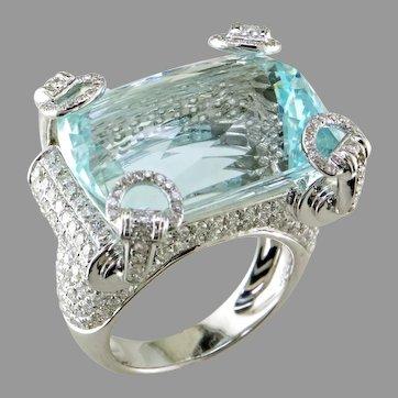 Designer Aquamarine Diamond 18K White Ring