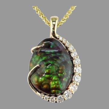 One-of-a-Kind Fire Agate Diamond 14K Pendant