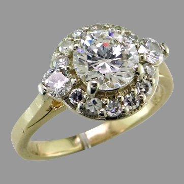 D VS1 Diamond Halo 14K Ring