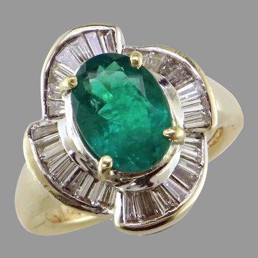 Emerald and Diamond 14K Ring