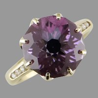 Amethyst and Diamond Crown Design Ring