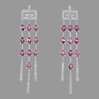18K White Gold Tourmaline and Diamond Earrings.