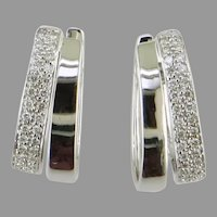 14K White Gold Oval Hoop Diamond Earrings
