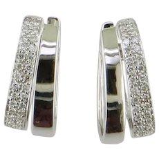 14K White Gold Oval Hoop Diamond Earrings