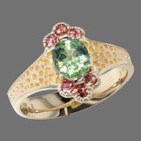 Demantoid and Malayan Garnet Ring