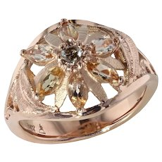 Imperial Topaz and Diamond Rose Gold Ring