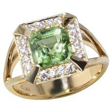 Asscher Cut Peridot & Diamond Ring