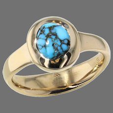 """Yellow Gold """"Spiderweb"""" Turquoise Ring"""