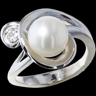 Freshwater and Diamond Swirl Ring