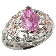 California Pink Tourmaline and Diamond Ring