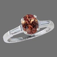 1.31 ct. Padparadscha and Diamond Platinum Ring