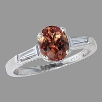 1.31 ct. Padparadscha and Diamond Platinum Ring