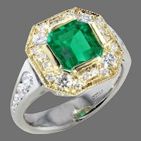 Platinum & 18K 1.73 cts. Natural Emerald and Diamond Ring