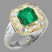 Platinum & 18K 1.73 cts. Natural Emerald and Diamond Ring