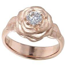 14K Rose Gold Diamond Rose Ring
