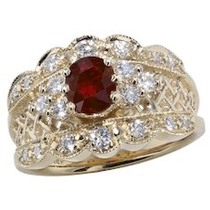 Ruby and Diamond Cigar Band Ring