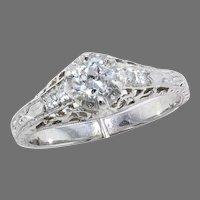 White Gold Diamond Filigree Ring