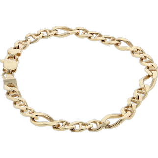 14K Solid Figaro Bracelet