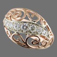 14K Rose & White Gold Recycled Diamond Ring