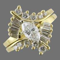 18K Yellow Gold Marquise Diamond Wedding Set