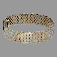 14K Tri Color Mesh Bracelet