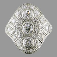 18K White Gold Art Deco Filigree Diamond Ring