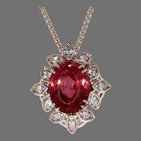 Rhodonite and Diamond Pendant