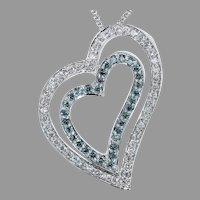 White and Treated Blue Diamond Heart Pendant