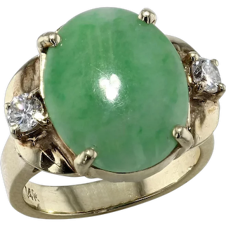 Yellow Gold Jade and Diamond Ring