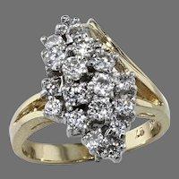 14K Gold Diamond Cluster Ring