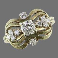 Yellow Gold Bow Diamond Ring