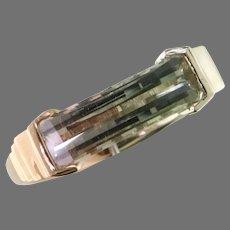 14K Two Tone Bi-Color Tourmaline Ring
