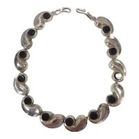 Antonio Pineda Comma Necklace Sterling Silver and Onyx