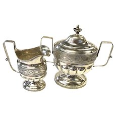 Chaudron & Rasch Early Philadelphia Silver Covered Sugar Bowl and Cream Pitcher