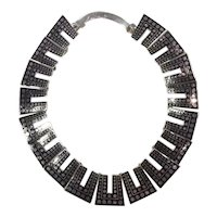 Margot de Taxco Black Enamel with Dots Sterling Silver Necklace