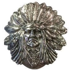 Sterling Silver Unger Brothers Large Indian Brooch/Pin