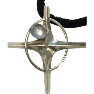 Antonio Pineda Sterling Silver and Moonstone Cross Pendant Necklace