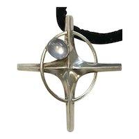 Antonio Pineda Sterling Silver and Moonstone Nova Star/Cross Pendant Necklace