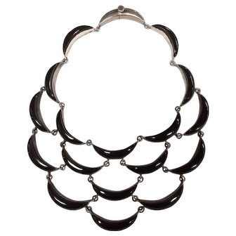 Antonio Pineda Waterfall Necklace Sterling Silver and Onyx