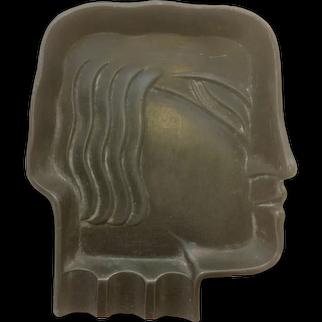 Wonderful Vintage 1937 Art Deco Face Ashtray