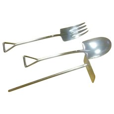 Child's Youth Set, Spoon, Fork and Pusher as a Shovel, Pitch Fork and Garden Hoe