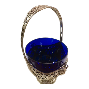 Black, Starr & Frost Silver Basket with Blue Glass