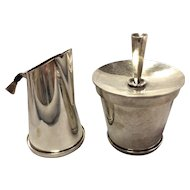 Kurt Eric Christoffersen Sterling Silver Covered Sugar Bowl and Cream Pitcher