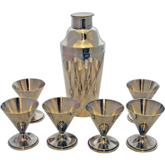 Art Deco Cocktail Shaker Set with Six Matching Cups German 835 Silver