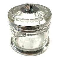 Sterling Silver Overlay Honey Pot/Jar with Bee Finial