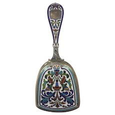 Sterling Silver Enameled/Cloisonne Tea Caddy Spoon/Scoop
