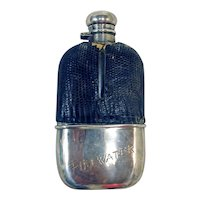 Sterling Silver and Lizard Skin Flask, 19th Century