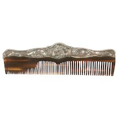 Sterling Silver Comb Frame with a Full Figure Reclining Lady