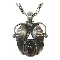 Georg Jensen Sterling Silver and Garnet Necklace Pendant 1994