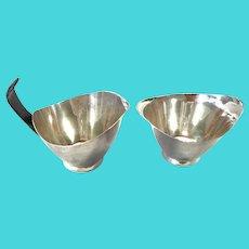 Gorham Sterling Silver Art Moderne Sugar Bowl & Cream Pitcher Circa 1956 (Directional)